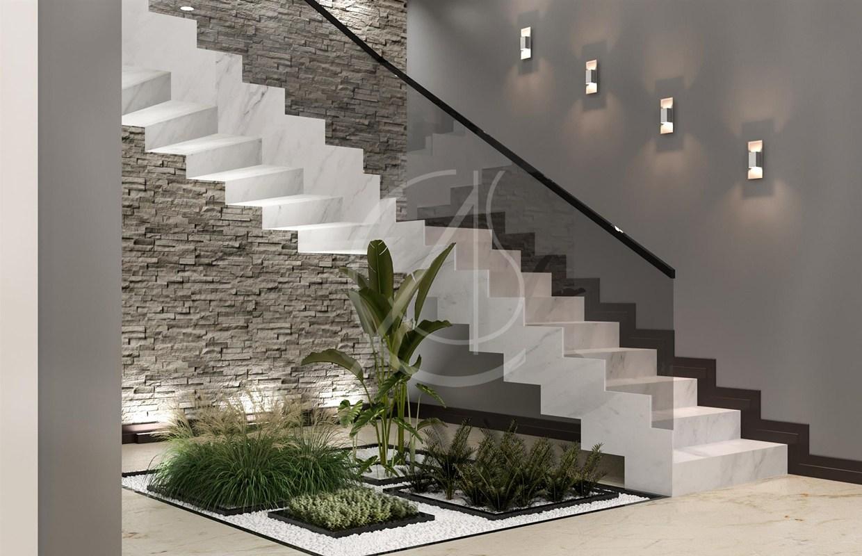 Modern Luxury Indoor Garden Design On Architizer | Under Stair Garden Design | Plant | Ideas | House | Stair Case | Pebble Garden