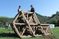 This entire structure, sans a few poles that hold it together, is made of cardboard.