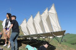 This sail-like structure is capable of holding several people on its platform.