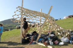 A structure made up of wooden shapes. Also covered with LED lights.