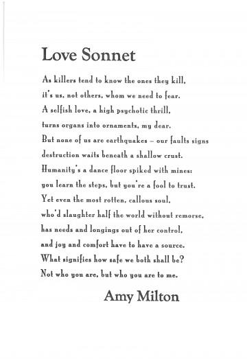 """Love Sonnet"" By Amy Milton Architrave Press"