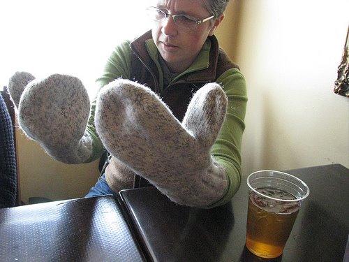 Lesli wearing Dachstein mittens