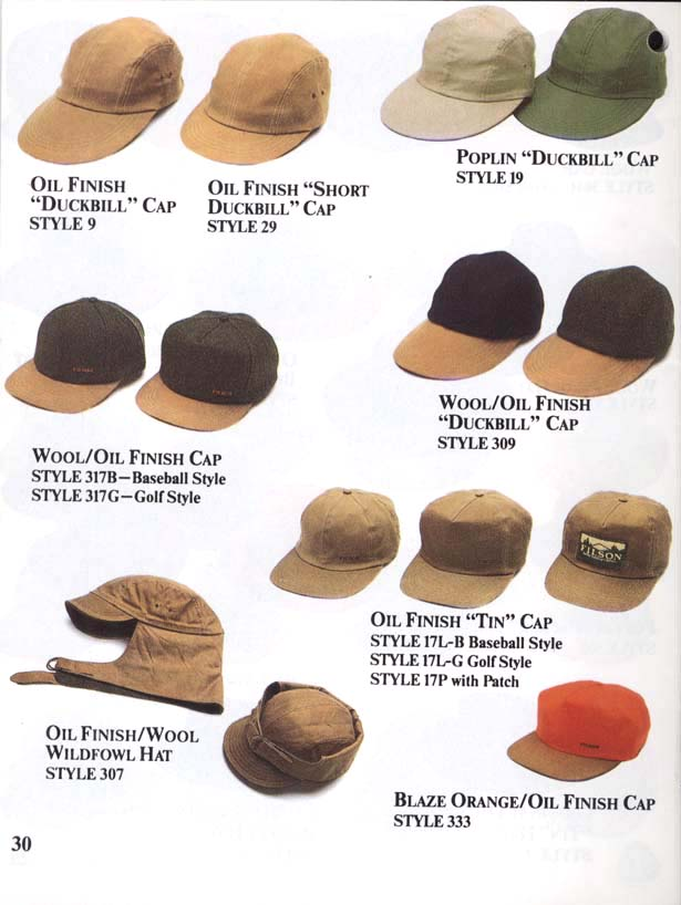 Catalog scan of Filson duckbill caps