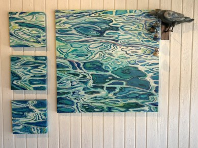 Water Painting 36x36, and Three Water Paintings 12x12 each