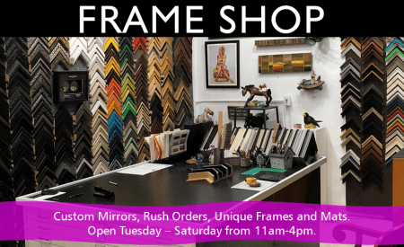 Custom Frame Shop offering mirrors, unique frames and mats, and rush orders.