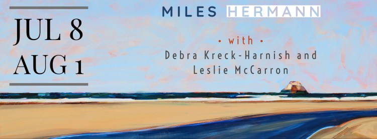 Showing July 8 - August 1, Miles Hermann with Debra Kreck-Harnish and Leslie McCarron.