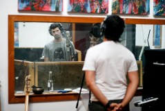 At Big Jesus Burger studios during recording of Head of the Hawk. January 2009