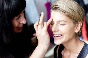 Model Sophie Van Den Akker gets her make up started