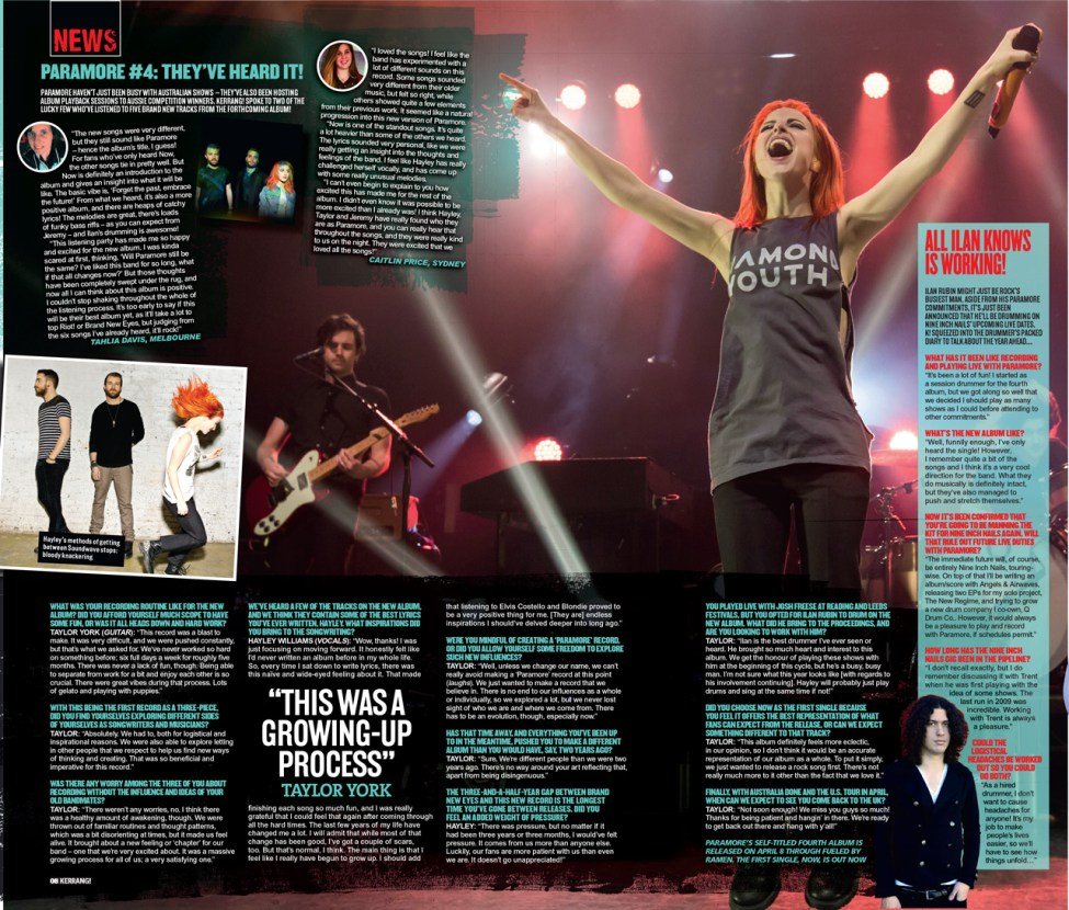 Paramore feature in Kerrang!