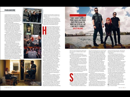 2nd spread of Paramore feature in Q Magazine