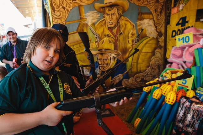 A crack shot at the Wild West shooting gallery
