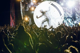 Diplo in a bubble during Major Lazer's set