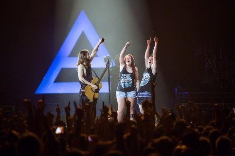 Timmy from Picton and his 'friend' onstage with Jared Leto