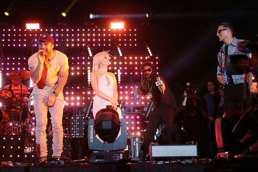 Sam Hunt, Snoop Dogg, Bebe Rexha and G-Eazy during their Bud Light Music Stage Moment at The Empire Polo Club on April 29, 2016 in Indio, California.