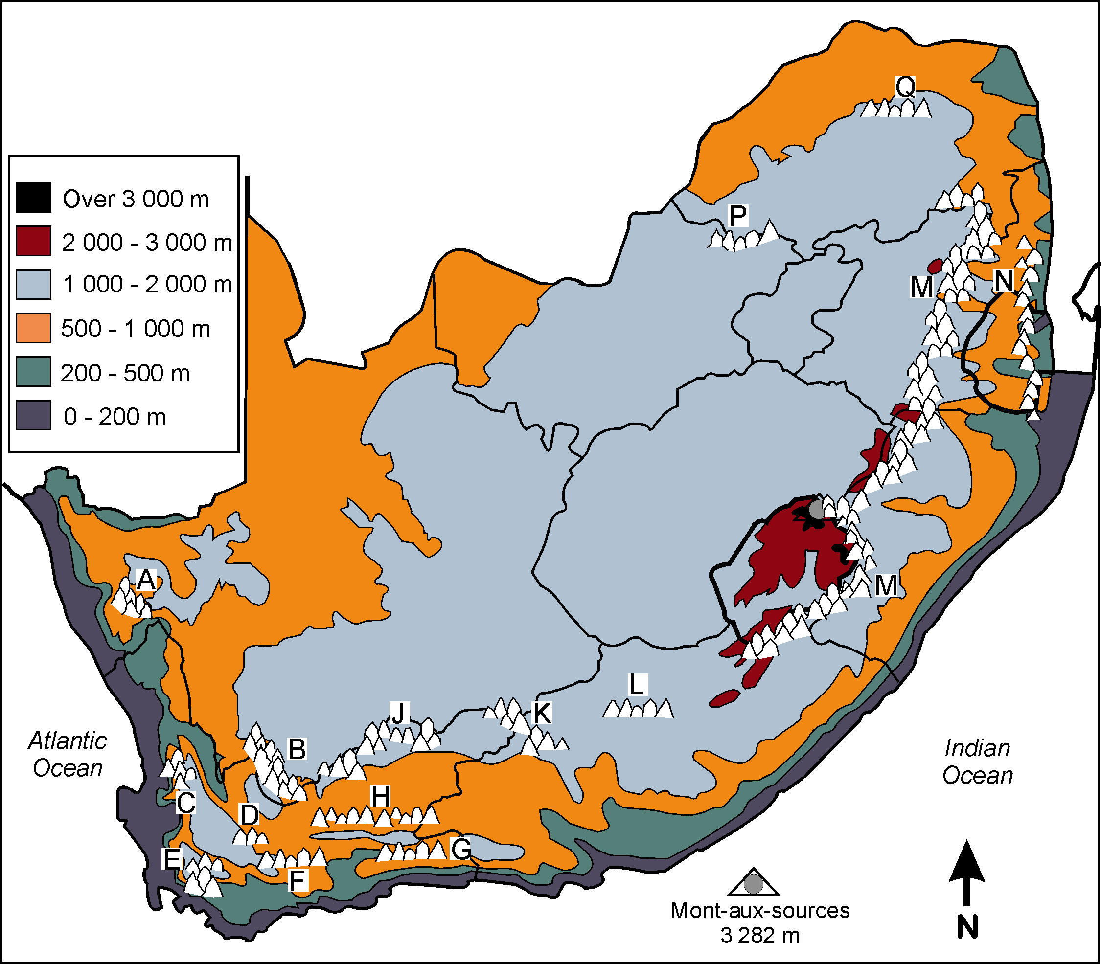 Physical Map Of Africa Mountains