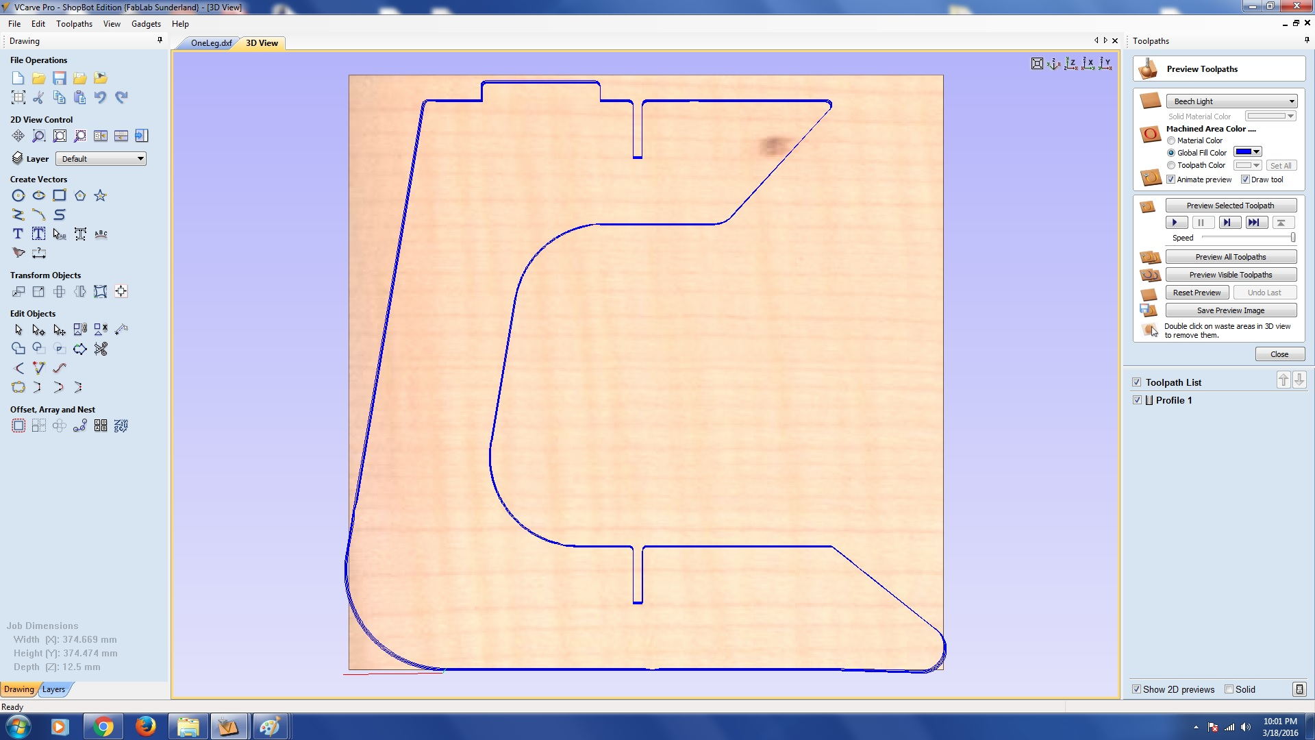 hight resolution of i input the following settings within the 2d profile toolpath menu to generate the appropriate toolpath for each of the constituent parts of my model