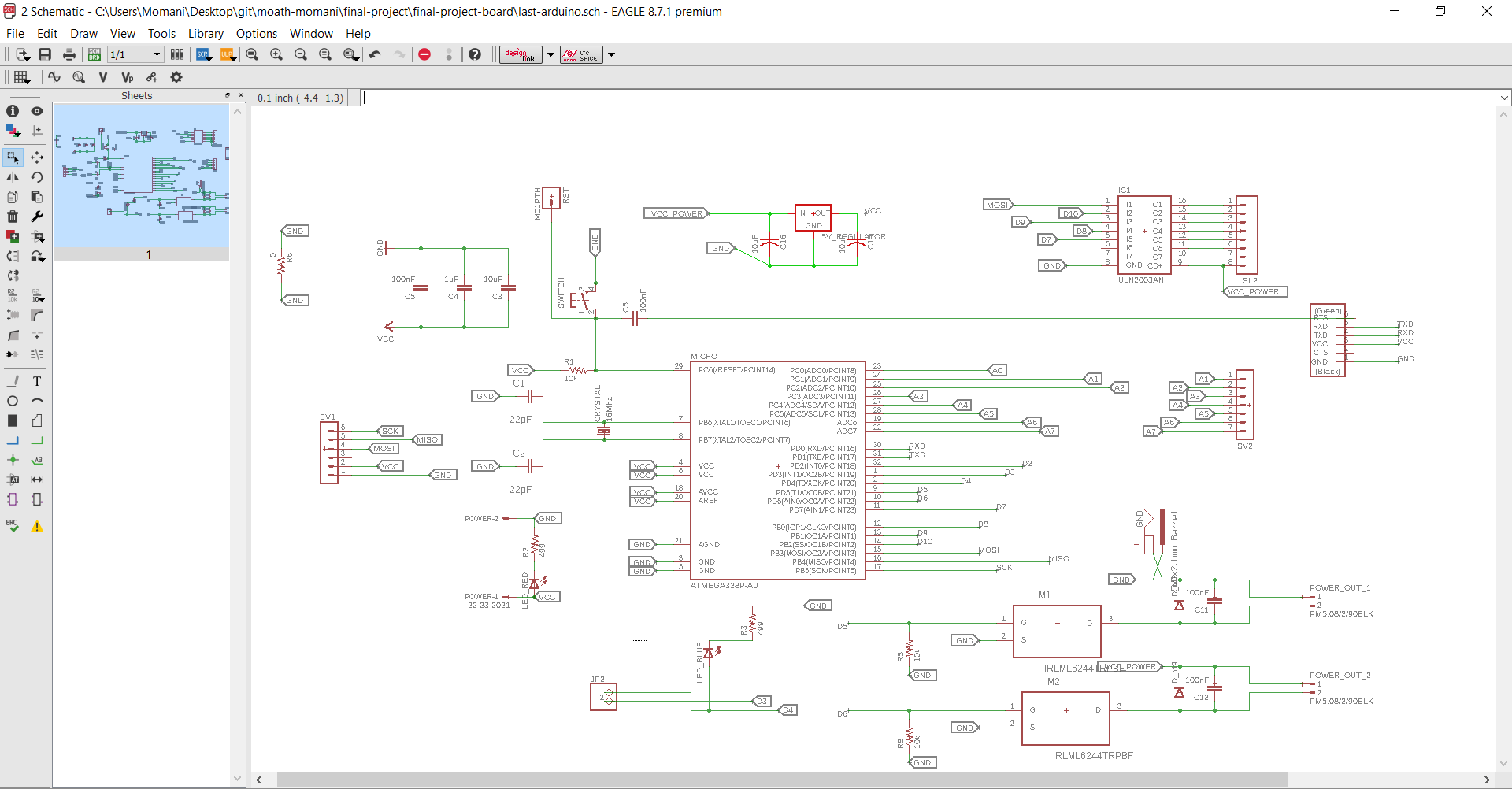 hight resolution of also in this schematic i have designec a voltage regulator circuit outputs 5 volts to feed the microcontroller atmega 328p