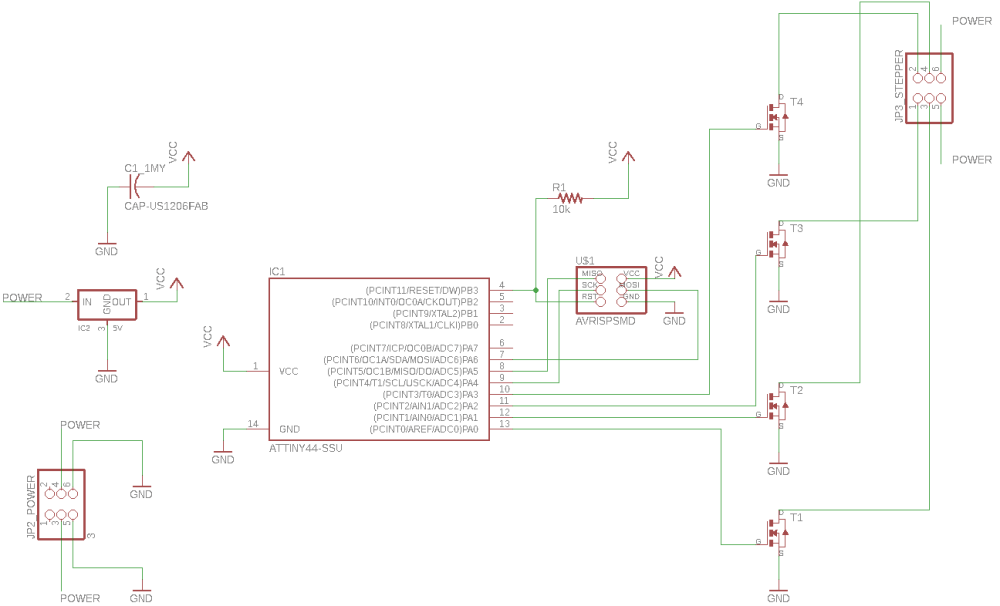medium resolution of an eagle schematic to the unipolar stepper motor