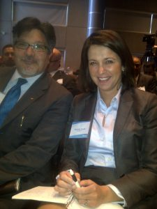 Frontier's VP Research, Marco Navarro-Genie, is captured here at the Economic Summit with Alberta's Leader of the Official Opposition, Danielle Smith.