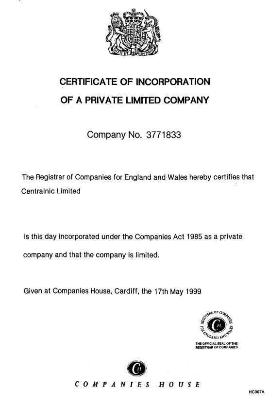 Exhibit 3 CentralNic's Certificate Of Incorporation And