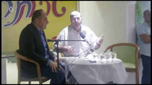 Former defense minister Moshe Ya'alon speaks at a cultural event in Afula on April 24, 2017. (Screen capture: Channel 10)