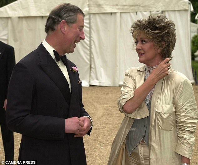 Prince Charles and Amanda Barrie are seen here at a fundraising event at Waddeson Manor in Buckinghamshire in 2001. The actress has previously claimed that she was asked to take the young heir's virginity