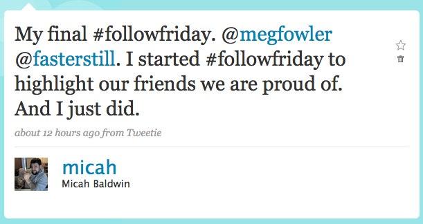 Final Follow Friday Tweet