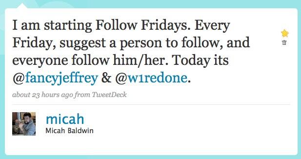 First Follow Friday Tweet