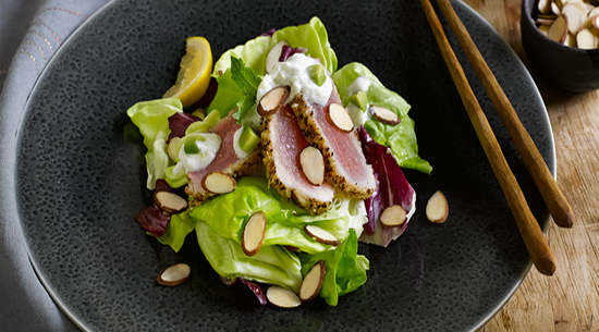 almond-crusted-tuna-tataki-salad-with-avocado-tzatziki