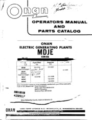 968 0325 Onan MDJE Operators Manual and Parts Catalog