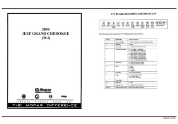 2004 Jeep Grand Cherokee ( WJ) Parts Manual Revised OCR