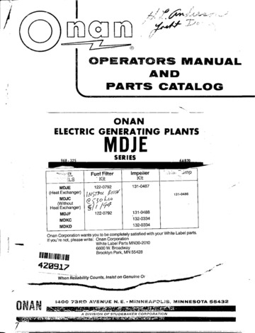 968 0325 Onan MDJE Operators Manual and Parts Catalog