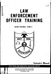 ERIC ED056174: Law Enforcement Officer Training, Basic