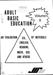 ERIC ED069949: Adult Basic Education: An Evaluation of