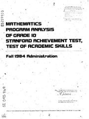 ERIC ED259905: Mathematics Program Analysis of Grade 8