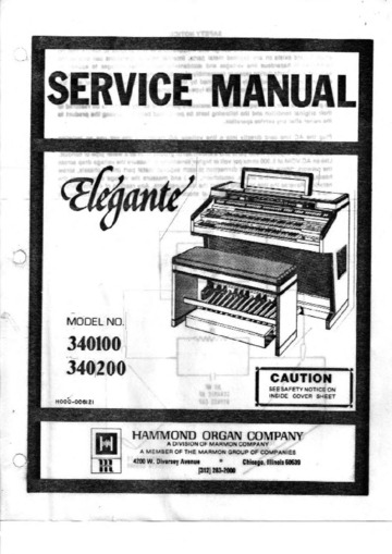 Hammond Elegante Service Manual : Collected by DrLunk