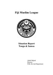 Fiji Muslim League Situation Report: Tonga & Samoa : Abdul