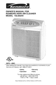 Kenmore PLASMAWAVE 85150 Air Cleaner User Manual : Kenmore