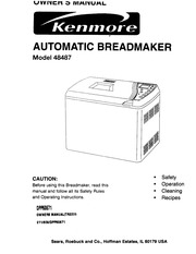 Kenmore 48487 Bread Maker User Manual : Kenmore : Free