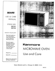 Kenmore 99721 Microwave Oven User Manual : Kenmore : Free