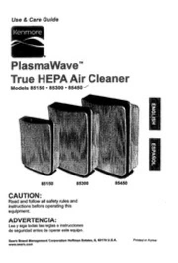 Kenmore PLASMAWAVE 85150 Air Cleaner User Manual : Kenmore