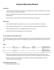 Pictures Inductive Bible Study Worksheet - Leafsea