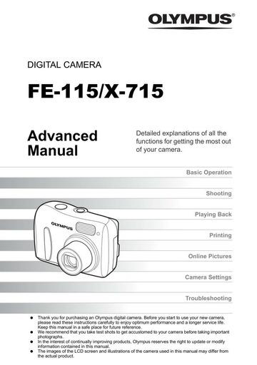 Olympus FE-115 X-715 Digital Camera User Manual : Olympus