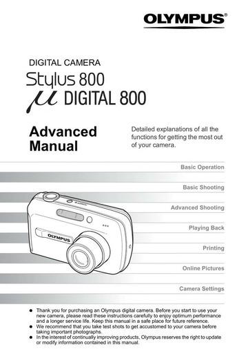 Olympus Stylus 800 Digital Camera Advanced Manual