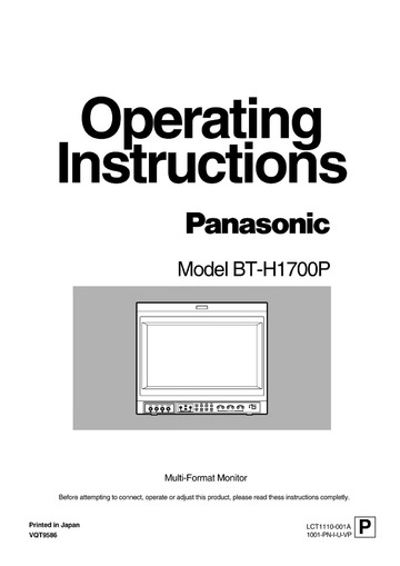 Panasonic BT-H1700P Computer Monitor User Manual