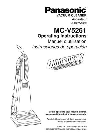 Panasonic MC-V5261 Vacuum Cleaner User Manual : Panasonic