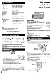 Panasonic CQ-C1301W MP3 Player User Manual : Panasonic