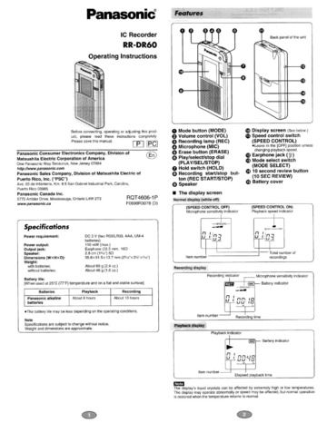Panasonic RR-DR60 Microcassette Recorder User Manual