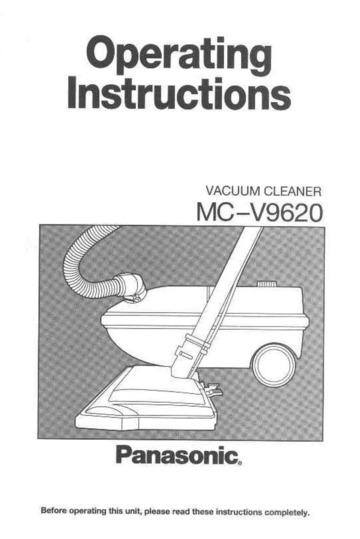 Panasonic mc-v9620 Vacuum Cleaner User Manual : Panasonic