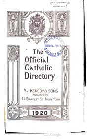 Official Catholic Directory For The Year Of Our Lord 1920